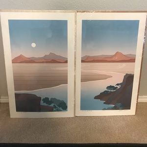 Set of 2 MCM Artist Proofs Diptych by Alex Miles